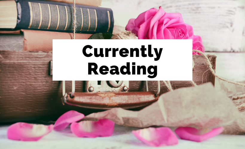Currently Reading with suitcase, hot pink flowers, old books