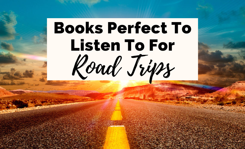 Best Audiobooks For Road Trips with road, yellow dotted road lines, blue sky and sunset