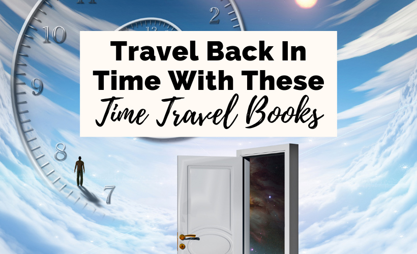 Best Time Travel Books with sky, man walking on numbered clock, and open door