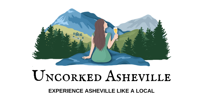 Uncorked Asheville Experience Asheville like a local with logo of white brunette woman drinking white wine a rock overlooking Blue Ridge Mountains