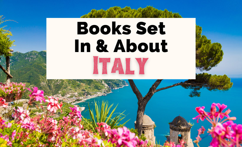 Books About Italy with picture of Amalfi Coast with blue water and pink flowers