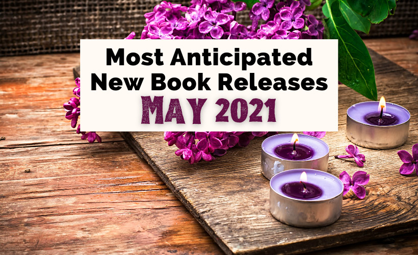May 2021 book releases with three purple candles and purple bouquet of flowers