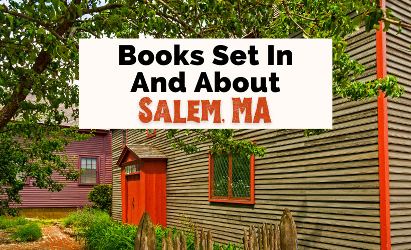 Salem Witch Trials books and books set in Salem, MA with purple and brown Salem Witch Trial Memorial