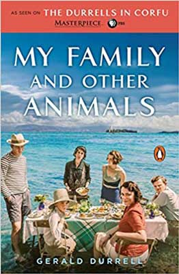 My Family and Other Animals by Gerald Durrell book cover with family having a picnic and water behind them