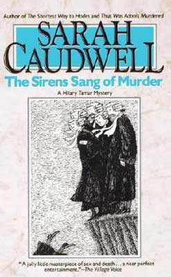 The Sirens Sang of Murder by Sarah Caudwell book cover with men in robes and wigs watching someone fall over ocean cliff into water