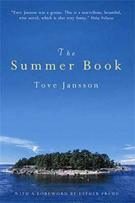 The Summer Book by Tove Jansson book cover with blue sky and tree-filled island