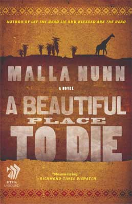 A Beautiful Place to Die by Malla Nunn tan book cover with shadow of giraffe and trees