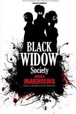 Black Widow Society by Angela Makholwa with white book cover and silhouette of three people back to back