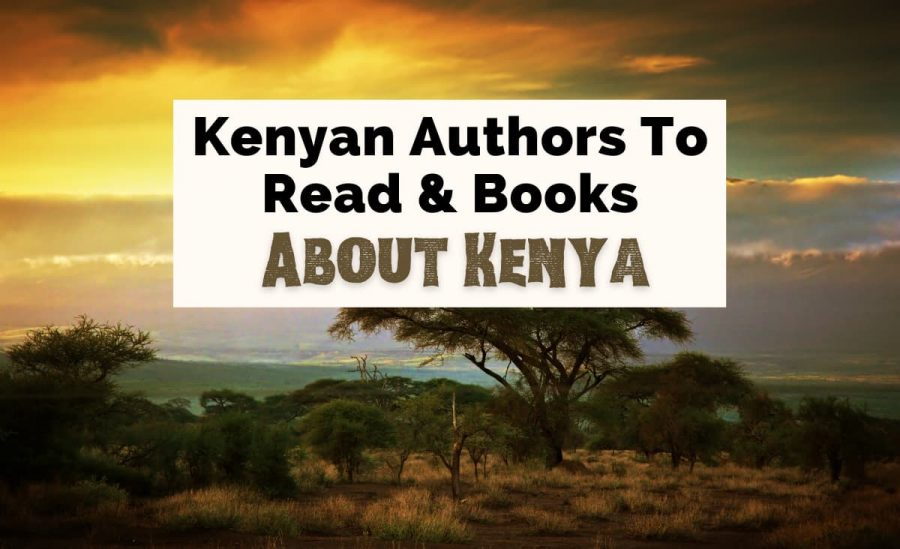 Books About Kenya and Kenyan culture with picture of Amboseli National Park at sunset with trees and clouds