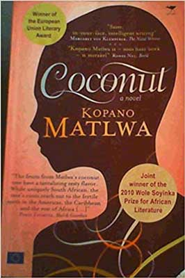 Coconut by Kopano Matlwa  bok cover with silhouette of person's head on peach colored background