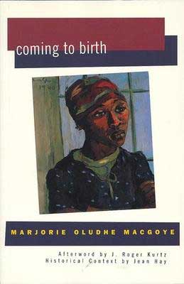 Coming to Birth by Marjorie by Oludhe Macgoye book cover with sketched portrait of a person