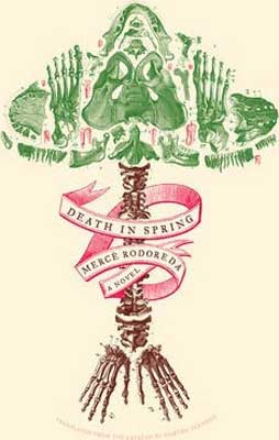 Death in Spring by Mercè Rodoreda book cover with pink ribbon going up a tree