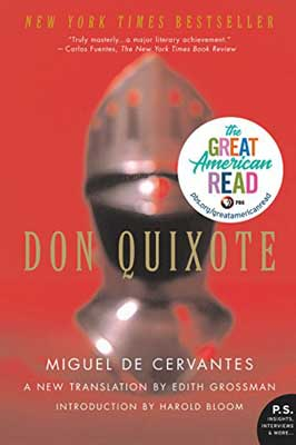 Don Quixote by Miguel de Cervantes book cover with bronze armor helmet