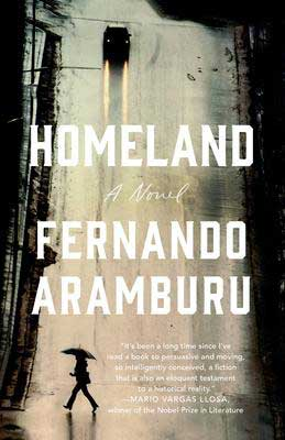 Homeland by Fernando Aramburu book cover with person crossing the road with umbrella and car with lights coming toward them