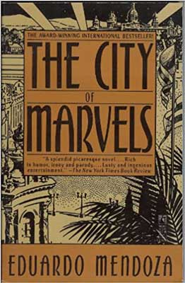 The City of Marvels by Eduardo Mendoza book cover with city and palm fronds