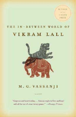 The In-Between World of Vikram Lall by M.G. Vassanji book cover with light green background and orange elephant with gray tiger