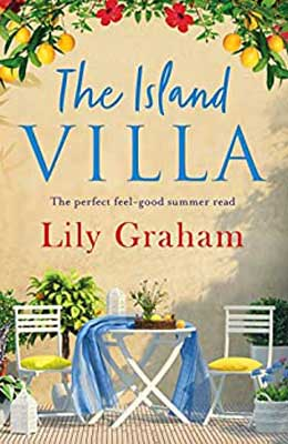 The Island Villa by Lily Graham book cover with two empty chairs at quaint table with blue cloth and flowers