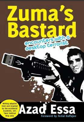 Zuma's Bastard by Azad Essa book cover with black and white picture of man holding what looks like a USB as a weapon