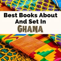 Best Books about Ghana and Ghana Books with photo of four colorful Ghanian fabrics lying neatly on top of each other