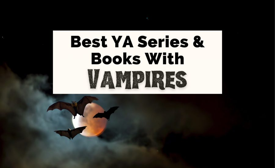 Best Vampire Books For Teens with picture of three bats flying in front of orange moon