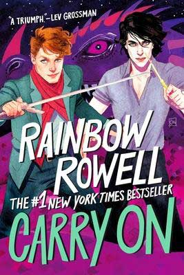 Carry on by Rainbow Rowell book cover with sketched white black hair and red hair males