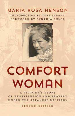 Comfort Women by Maria Rosa Henson book cover with portrait of older woman with short hair and arm to forehead