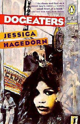 Dogeaters by Jessica Hagedorn book cover with woman's face, statue, and doorway saying 'club'