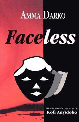 Faceless by Amma Darko book cover with half red and black background with face