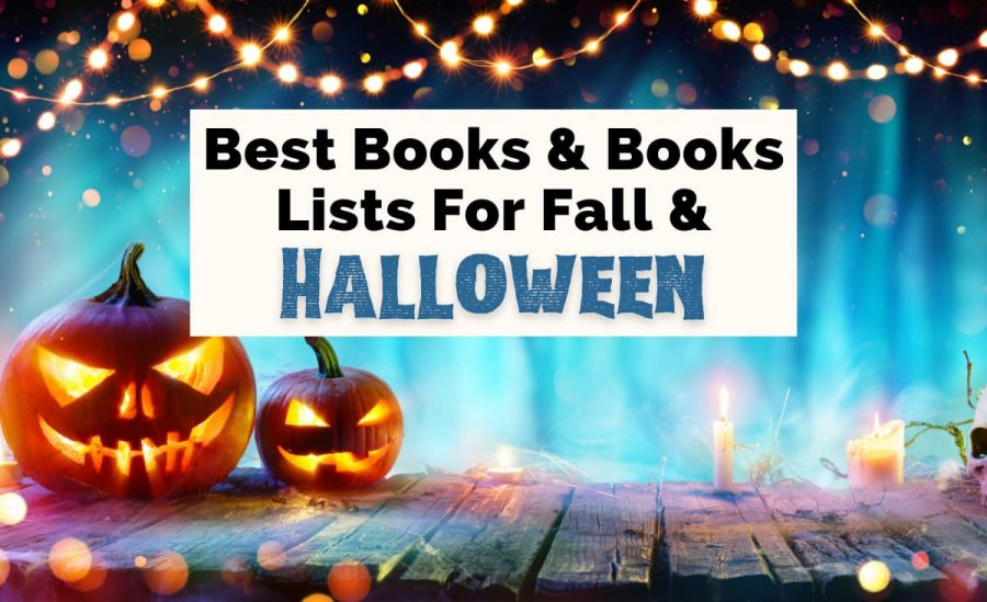 Fall Book Lists On TUL with two jack o lanterns, blue background, yellow string lights, and candles