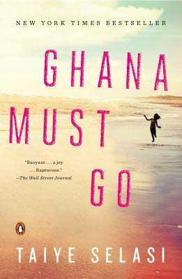 Ghana Must Go by Taiye Selasi book cover with person playing where water meets sand on a shore