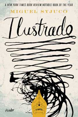 Ilustrado by Miguel Syjuco book cover with black sketched zig-zag lines coming from yellow pen top