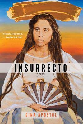Insurrecto by Gina Apostol book cover with woman in white holding a fan