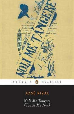 Noli Me Tángere (Touch Me Not) by José Rizal book cover with blue ink sketches and words