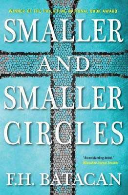 Smaller and Smaller Circles by F.H. Batacan book cover with brownish cross over turquoise background