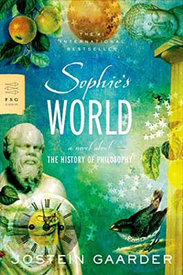 well-known Norway books, Sophie's World by Jostein Gaarder book cover with blue and green background, bust, and green leaves