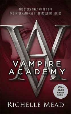 Vampire YA books, Vampire Academy by Richelle Mead maroon book cover with vampire female looking between the letters