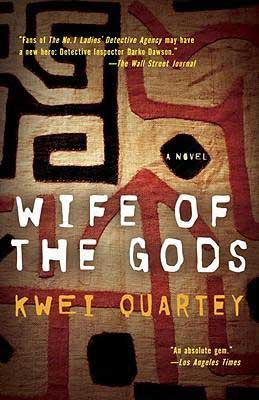 Wife of the Gods by Kwei Quartey book cover with arrow and patterns in black and red
