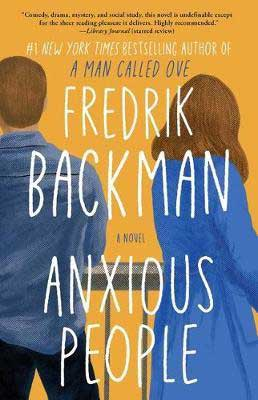 Anxious People by Fredrik Backman book cover with man and woman wearing blue and facing their backs