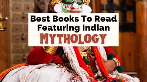 Best Indian Mythology Books And Hindu God Stories with photo of costume from Kathakali dance show in Cochin India reenacting scenes from The Mahabharata