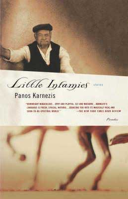 Little Infamies by Panos Karnezis book cover with older man wearing a black hat and legs dancing