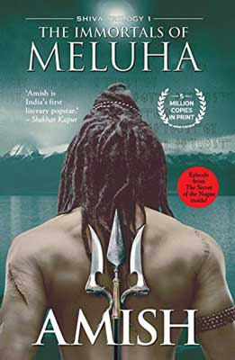 The Immortals of Meluha by Amish Tripathi book cover with man holding triton behind his back