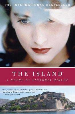The Island by Victoria Hislop book cover with white woman with brunette hair face