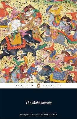 The Mahabharata book cover with brightly sketched and close together horses, elephants and people