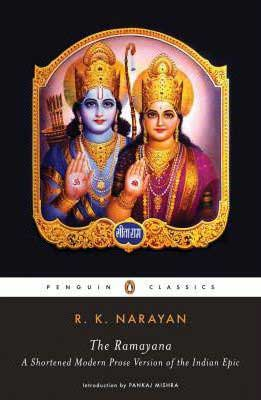 The Ramayana book cover with Rama and Sita wearing crowns with golden jewels