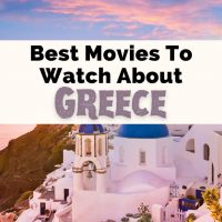 Movies About Greece Films Set In Greece with picture of Santorini at sunset with pink and blue sky and white and blue buildings